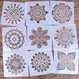 LOCOLO Reusable Mandala Floor Stencil Set of 9 (6 x 6 inch) Painting Stencil, Laser Cut Painting Template Floor Wall Tile Fabric Wood Stencils?DIY Decor (Color: off-white, Tamaño: Pattern 2)