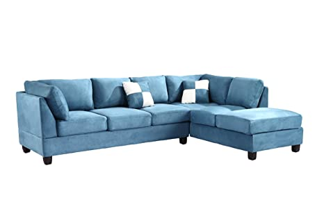 Glory Furniture G638-SC Sectional Sofa, Aqua, 2 boxes