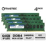 Timetec 64GB KIT(4x16GB) DDR4 2400MHz PC4-19200 Registered ECC 1.2V CL17 1Rx4 Single Rank 288 Pin RDIMM Server Memory RAM Module Upgrade (64GB KIT(4x16GB)) (Tamaño: 64GB KIT (4x16GB))