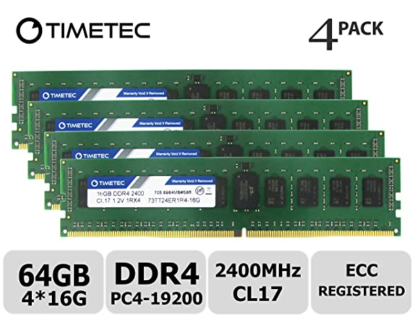 Timetec 64GB KIT(4x16GB) DDR4 2400MHz PC4-19200 Registered ECC 1.2V CL17 1Rx4 Single Rank 288 Pin RDIMM Server Memory RAM Module Upgrade (64GB KIT(4x16GB)) (Tamaño: 64GB KIT (4x16GB))