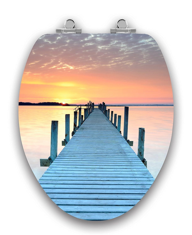 """TOPSEAT Acrylic Finish Sunset Runway Dock, Wooden, SLOW CLOSE Chromed Hinges, Elongated Toilet Seat"""