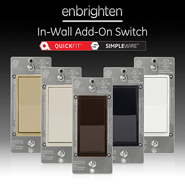 GE Brown Enbrighten Add QuickFit and SimpleWire, in-Wall Paddle, Z-Wave ZigBee Wireless Smart Lighting Controls, NOT A STANDALONE Switch, 47187 (Color: Brown)