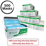 3-Ply Disposable Earloop Face Mask for Professional Medical, Dental, Salon Use (500 Masks / 10 Boxes, BLUE)