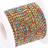 BENECREAT 10 Yard Crystal Rhinestone Close Chain Clear Trimming Claw Chain Sewing Craft About 2880pcs Rhinestones, 2mm - Colorful (Gold Bottom) (Color: Colorful (Gold Bottom), Tamaño: 2mm)
