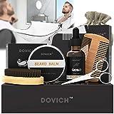 Beard Oil - DOVICH Beard Grooming Care Kit 8 in 1 for Men, 100% Natural Beard Oil Leave-in Conditioner,Beard shaving cloth, Beard Balm, Beard Brush, Styling Comb, Trimming Scissors,Linen Bag (Color: BLACK, Tamaño: 8 IN 1 Beard Groooming Kit)
