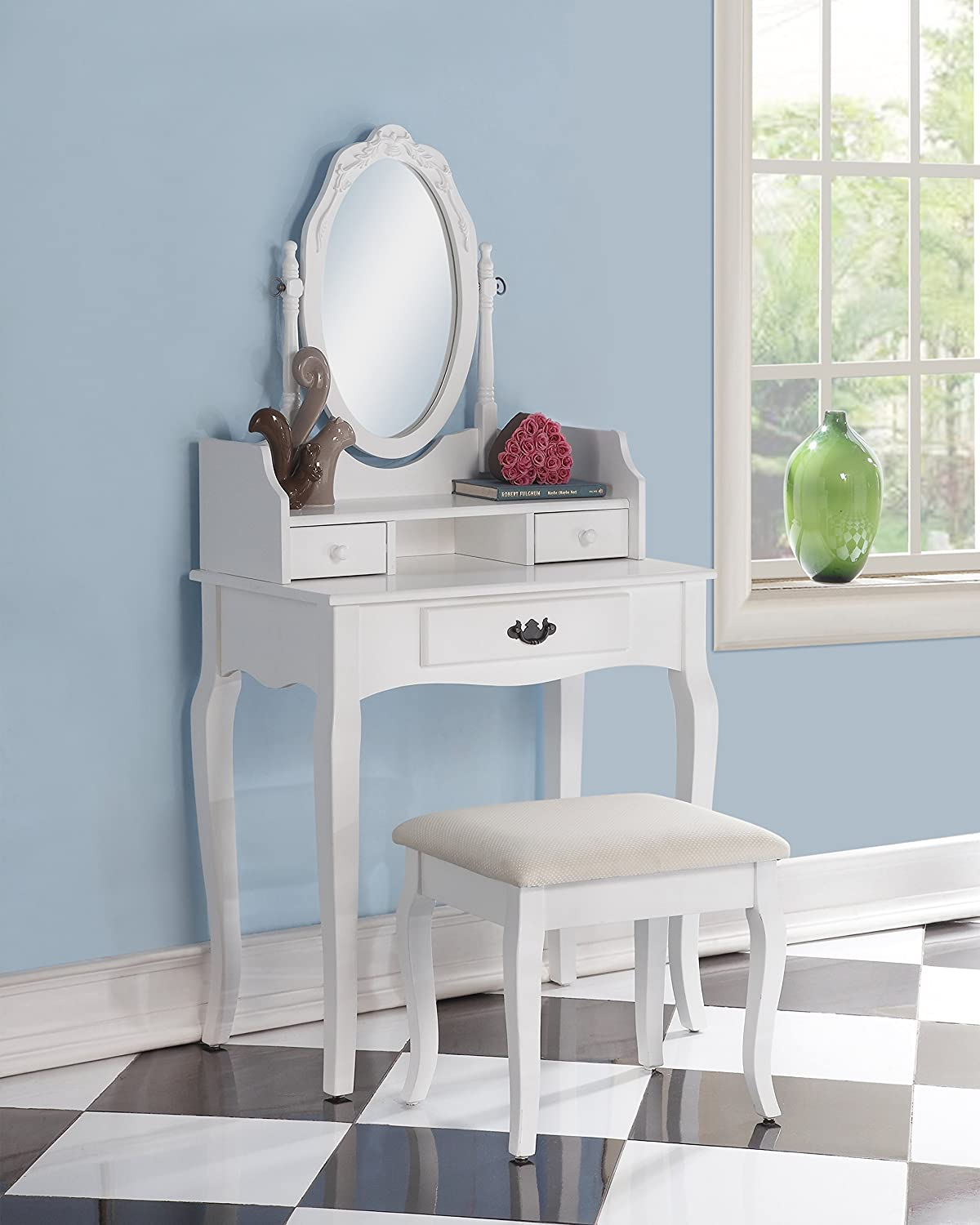 3-Piece Wood Make-Up Mirror Carved Vanity Dresser Table and Stool Set, White