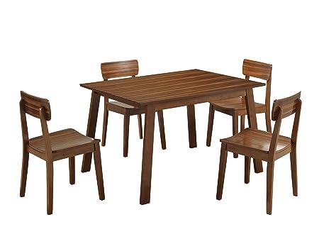 Boraam 33212 Zebra Series 5-Piece Hagen Dining Room Set, Honey Oak