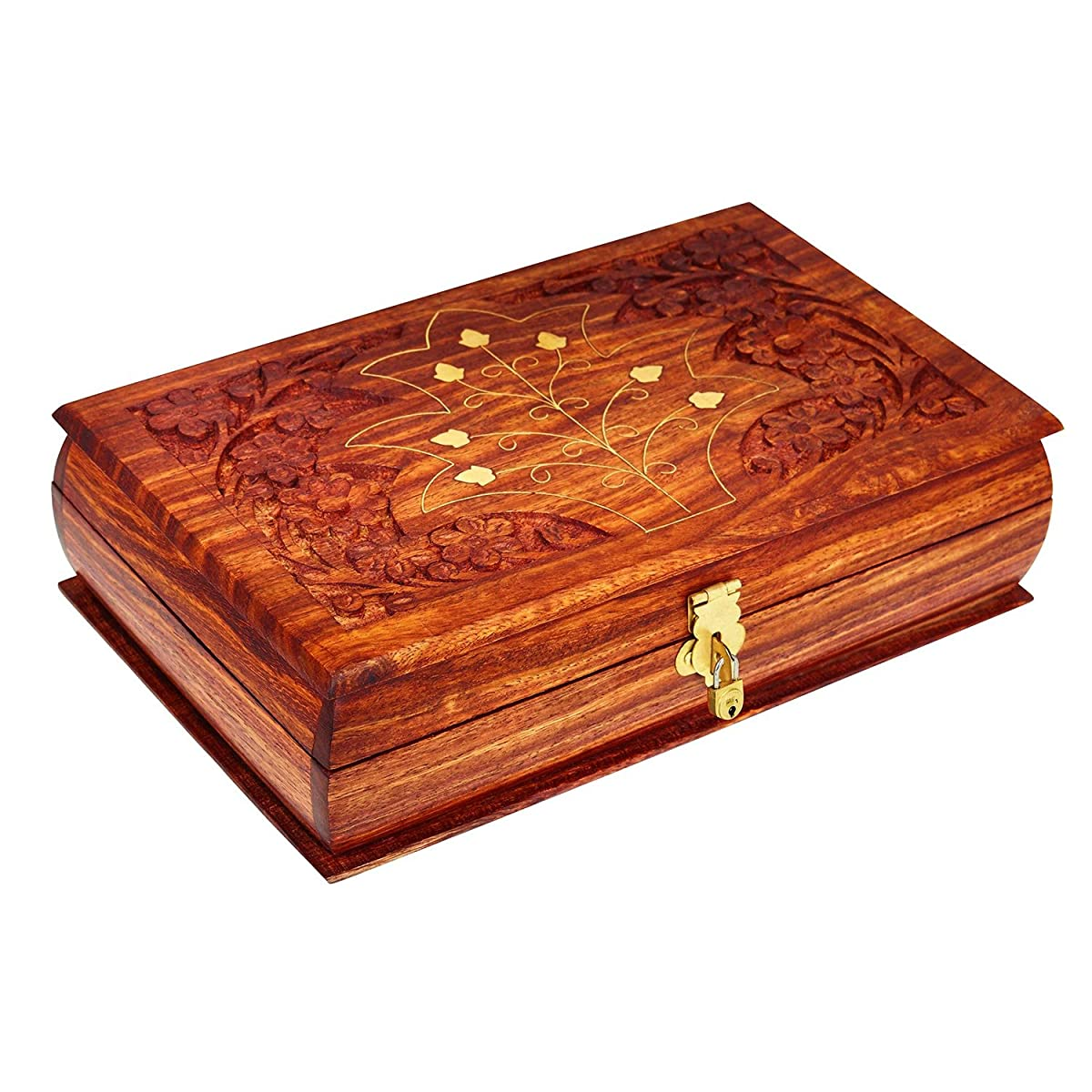 Handmade Wooden Jewelry Box With Free Lock & Key Keepsake Box Treasure Chest Lock Box Watch Box Storage Box Trinket Holder 8 x 5 Inches Birthday Housewarming Gift Ideas For Men & Women