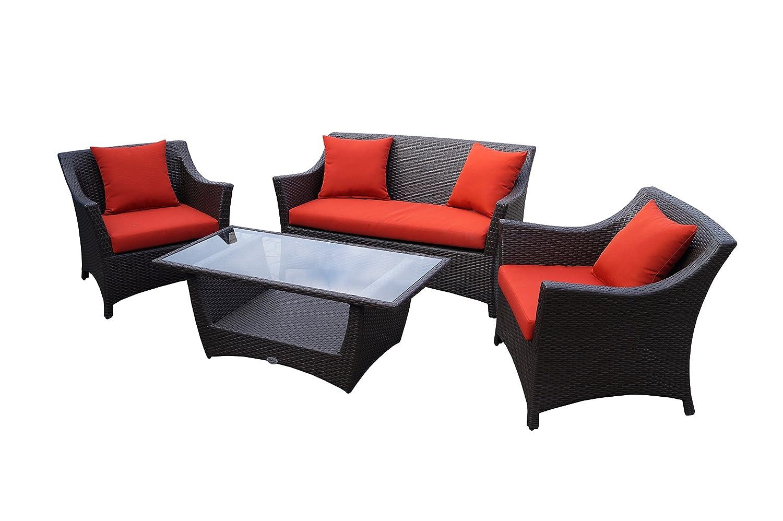 Rattan Lounge Set - Polyrattan Gartenmöbel Garnitur Sofa – Sitzgruppe mit hoher Lehne - braun - 10 cm Kissenauflage - rostfreies Aluminiumgestell - stabil - hervorragende Verarbeitung – top Qualität - preisgünstig