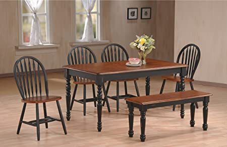Home Source 50902131 6-Piece Franklin Collection Asian Hardwood Dining Set, 36 by 19.7 by 17.9-Inch, Cherry/Black
