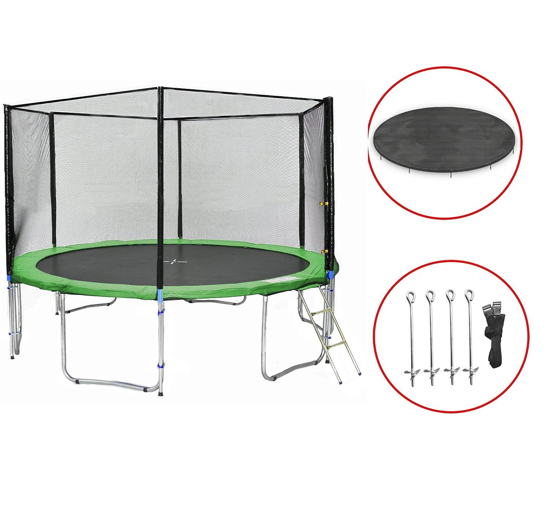 SB-430-G Gartentrampolin 430cm incl. Netz, Leiter, Bodenanker & Wetterplane, 180kg Traglast online kaufen