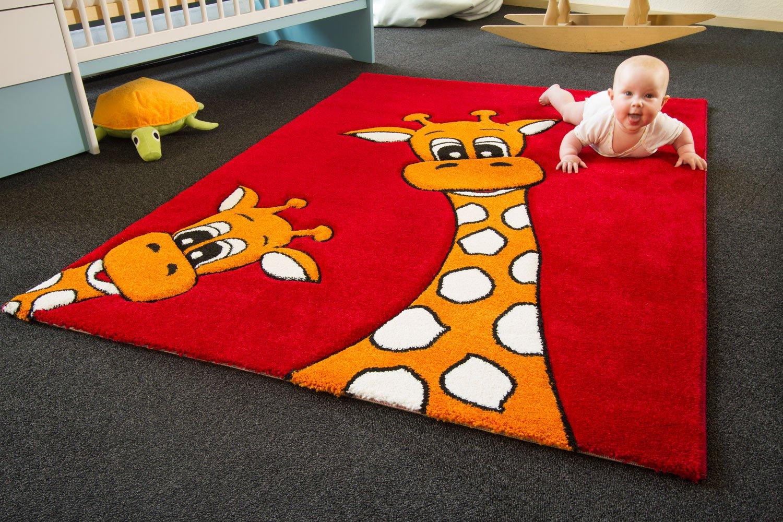 Kinder Teppich Giraffe Lia rot – Little Carpet Kollektion – Öko-Tex zertifiziert, Größe: 150×225 cm günstig online kaufen
