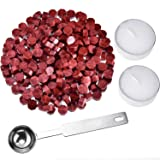 Hestya 230 Pieces Octagon Sealing Wax Beads Sticks with 2 Pieces Tea Candles and 1 Piece Wax Melting Spoon for Wax Stamp Sealing (Wine Red) (Color: Wine Red)