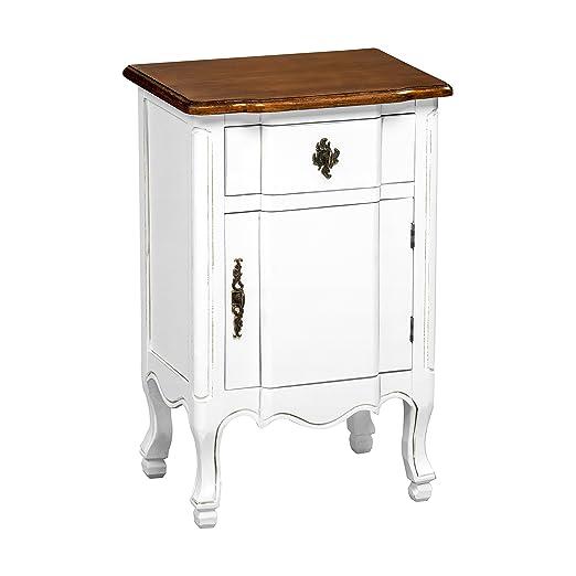 Premier Housewares Serena - Mesita (con cajón y una puerta), color blanco