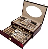 84 Piece Silverware - Flatware Set 3mm Heavy Surgical Stainless Steel & 24k Gold Plated Accents Service for 12 and Hostess Serving Set with Cherry Wood Case