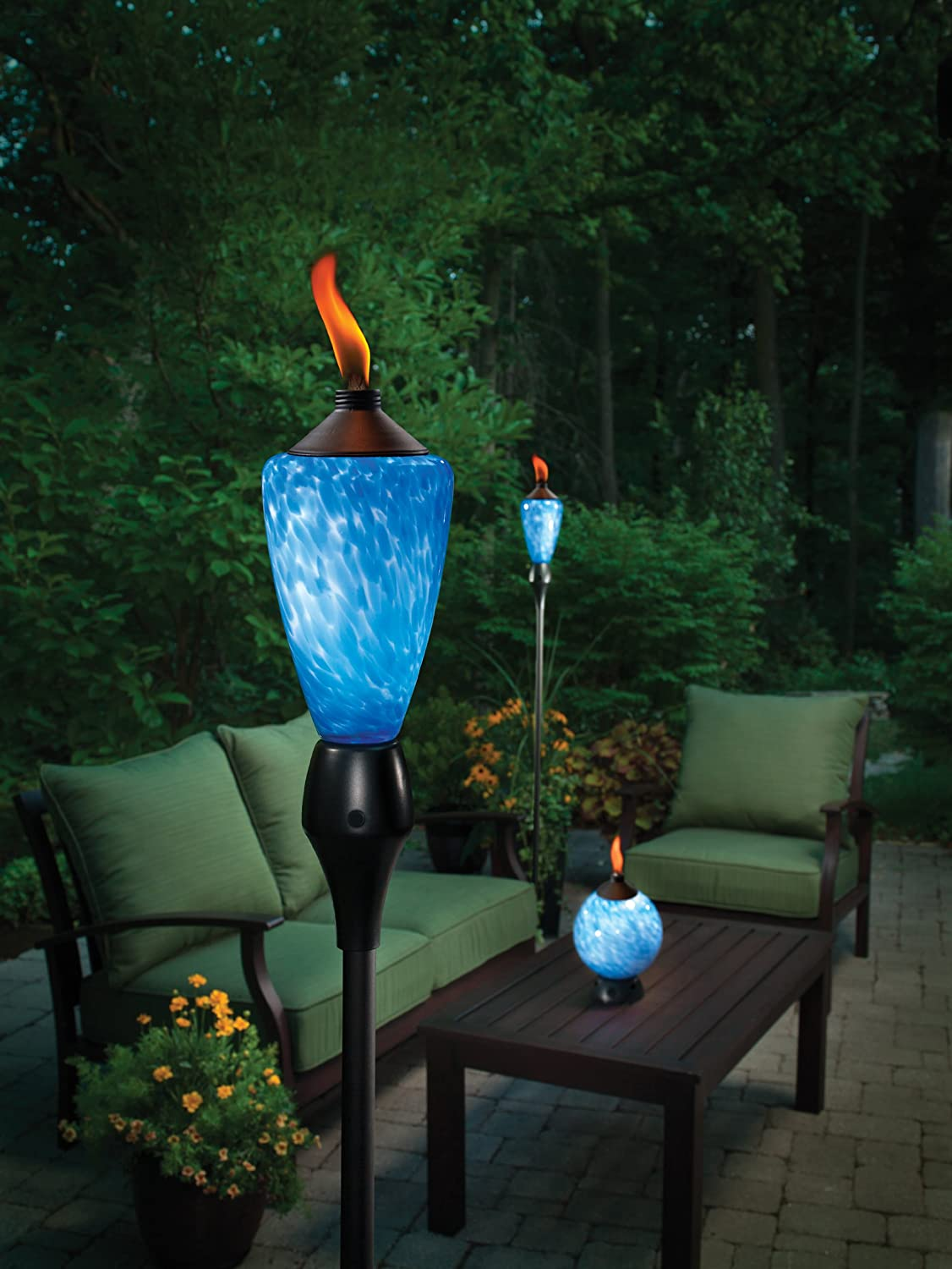 change glowing led patio yard deck flame citronella tiki torch ebay