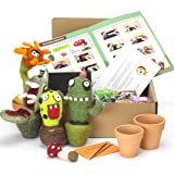 Woolbuddy Needle Felting Cactus Kit Make 4 Plus Cactus, Clay pots Included, Felting Foam Mat, 4 Needles, Colored Wool, Instruction Great for Arts and Crafts Easy for Beginners