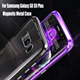 Magnetic Adsorption Flip Tempered Glass Case for Samsung Galaxy S9 s8 Plus Note 8 s 9 note8 Back Cover Luxury Metal Bumper Case (Black Transparent, For Galaxy S9 Plus) (Color: Black, Tamaño: For Galaxy S9 Plus)