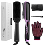 3 in 1 Ionic Hair Straightener Brush Ceramic Faster Heating Straightening Irons Worldwide Voltage with Free Heat Resistant Glove Storage Bag and Cleaning Brush (Black)