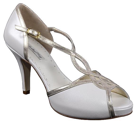 Lindsey peut Julieta chaussures de mariage Ivoire/doré