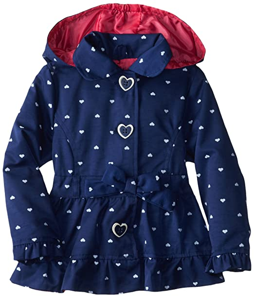 Pink Platinum Little Girls' Polka Hearts Trench Rain Jacket