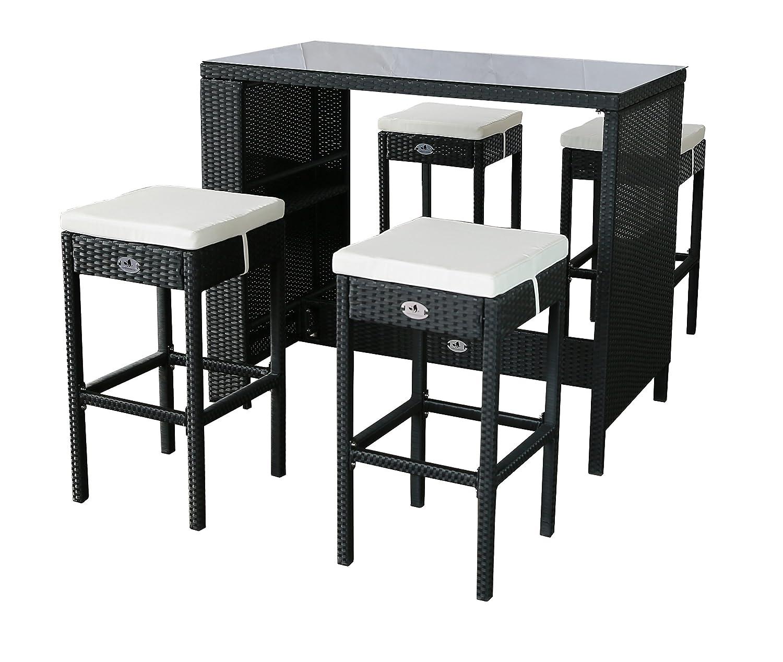 Gartenfreude Polyrattan Sitztheke mit 4 Hockern, Glasplatte 133 x 68 x 111cm, Hocker 42 x 42 x 75 cm, schwarz günstig
