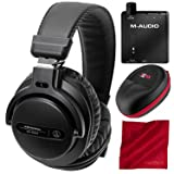 Audio-Technica ATH-PRO5XBK Professional On-Ear DJ Monitor Headphones with M-Audio Bass Traveler Headphone Amplifier, Xpix Headphone Case, and Fibertique Cloth