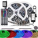 BIHRTC LED Strip Lights IP65 Waterproof 600leds 32.8ft 10M RGB SMD 5050 LED Rope Lighting Color Changing LED Tape with 44 Keys IR Remote Controller UL Power Supply for Home Kitchen Bedroom Decor (Color: Ir+ip65/60led, Tamaño: 32.8 Ft)