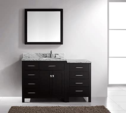 Virtu USA MS-2157L-WMSQ-ES Transitional 57-Inch Single Sink Bathroom Vanity Set, Espresso