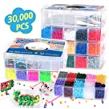 30,000 pcs Fuse Beads Kit 30 Colors 5MM for Kids, Including 10 Ironing Papers,48 Patterns, 7 Clear Pegboards, Tweezers, Perler Beads Compatible Kit (Color: As Shown, Tamaño: 5mm)