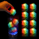 (12 Pack) Multi Color Light-Up LED Ice Cubes with Changing Lights and On/Off Switch (Color: Multicolor)