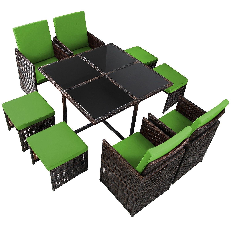17-teilige Luxus Rattan Sitzgruppe BELLINI mit 4 Stühlen, 4 Hockern und 1 Tisch, Farbe:Natur meliert / Papayagrün