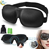 3D Sleeping Eye Mask Cover - WJPILIS 3D Contoured Magnetic Therapy Soft Lightweight Adjustable Eye Mask Blindfold with Ear Plugs for Women Men Girls Kids for Sleeping Travel Nap Shift Works (Black) (Color: Black)