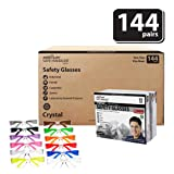 BISON LIFE Clear Lens Color Temple Safety Glasses | One Size, Adult, Teen, Youth, Clear Protective Polycarbonate Lens Color Temple, 12 Color VARIETY, Case of 12 BOXES, 144 PAIRS (Color: Clear/Variety, Tamaño: 144 per Case (1 case))