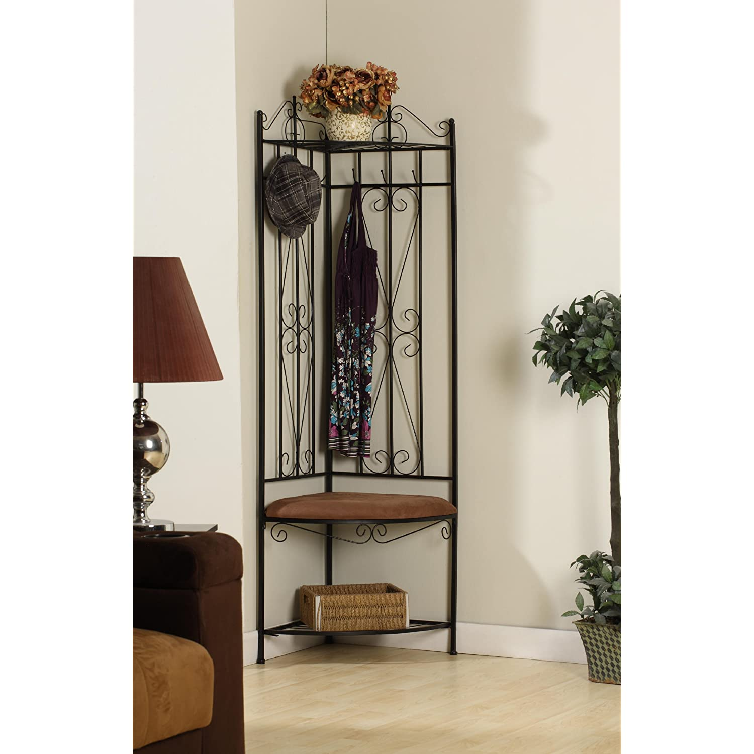 Kings Brand Black Metal Corner Entryway Hallway Rack with Bench 6 ...