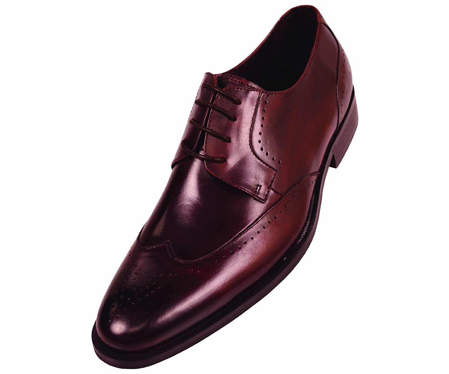 Steven Land Footwear Collection Mens Brown Classic Wingtip Style with Perforation Detailing on Toe Genuine Leather Oxford Dress Shoe: Style SL7184 Brown-065