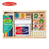 Melissa & Doug Wooden Classroom Stamp Set With 10 Stamps, 5 Colored Pencils, 4 Sticker Sheets, and 2-Colored Stamp Pad (Color: multi/none)