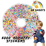 Kids Stickers(3000+ Pcs/Pack), 38 Different Sheets 3D Puffy Stickers for Teens, Toddlers, Girls and Boys. Including Animals, Cars, Trucks, Airplane, Food, Letters, Flowers, Pets and More. (Tamaño: 3000 3D Puffy Stickers)