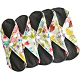 Sanitary Reusable Cloth Menstrual Pads by Heart Felt | 5 Pack Washable Sanitary Napkins with Charcoal Absobancy Layer - Overnight Long Panty Liners for Comfort and Support (Color: Nature Print, Tamaño: Heavy Flow)