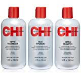 CHI Trio Kit with CHI Infra Shampoo, CHI Infra Treatment and CHI Silk Infusion (Tamaño: 12 Ounce)