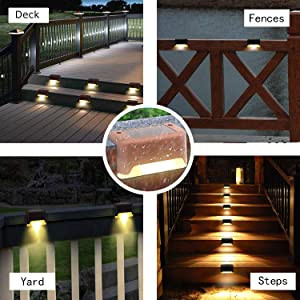 Solar Deck Lights Waterproof Led Solar Lamp Outdoor Warning Warm Light for Steps Decks Pathway Yard Stairs Fences Tent Camping 16 Pack (Color: Brown)