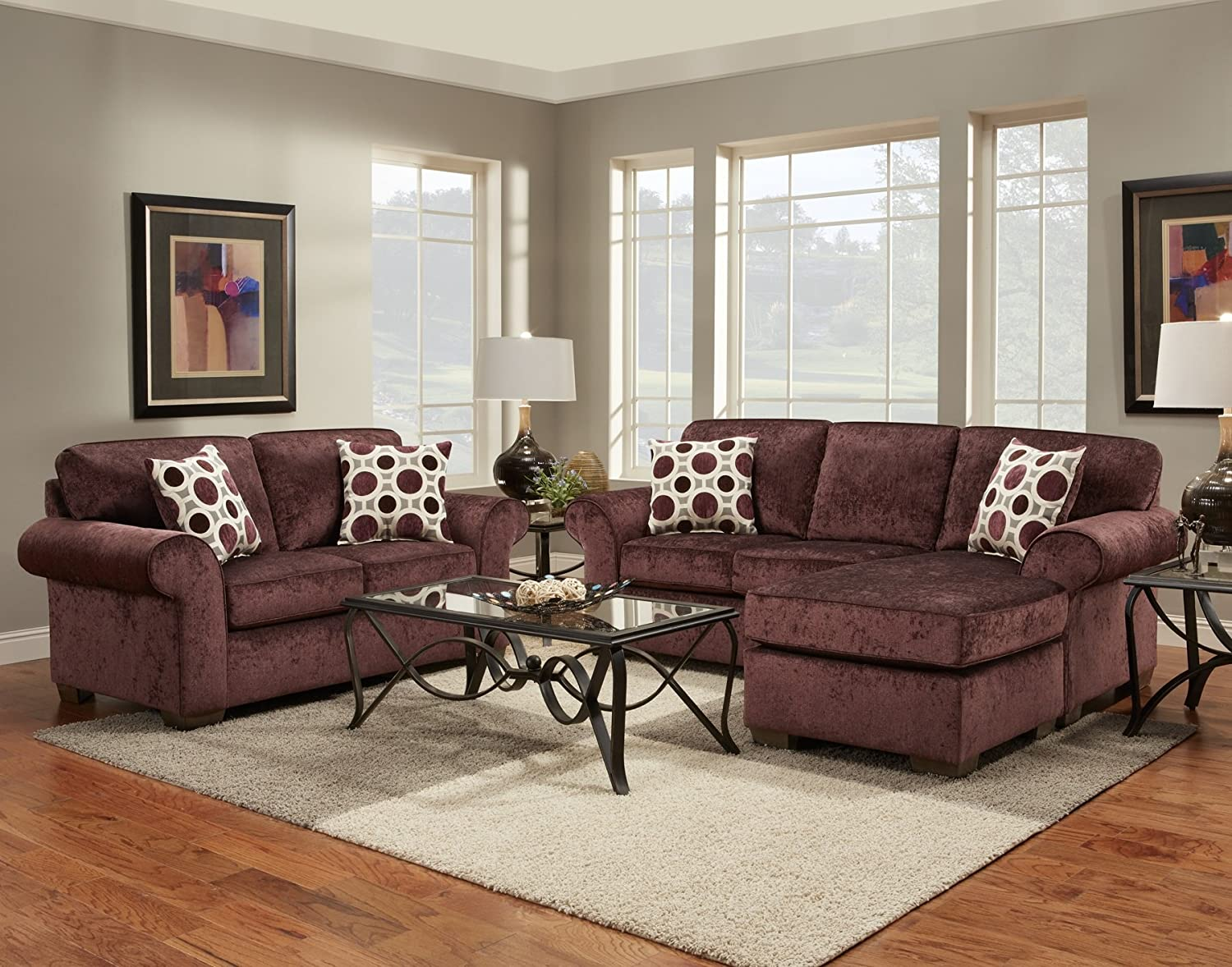 Roundhill Furniture Fabric Loveseat with 2 Pillows - Prism Elderberry