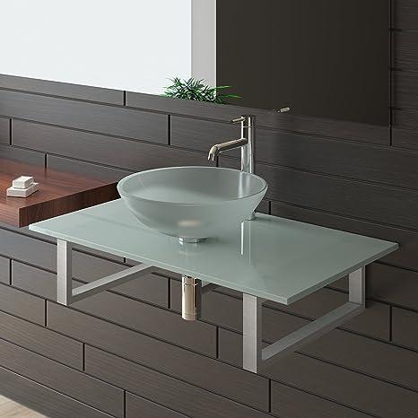 Frosted Glass Wash Basin Set Wash Basin / Bathroom Range Glass Alpenberger 50 / Cabinet / Furniture / Glass Exclusive Bathroom Washbasin for Bathroom / Glass Bowl / Glaswaschtisch
