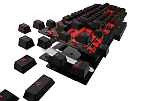 Etrobot Mechanical Gaming Keyboard Red LED Backlit with Blue Switches USB Wired Aluminum Chassis (Black) (Color: BLACK)