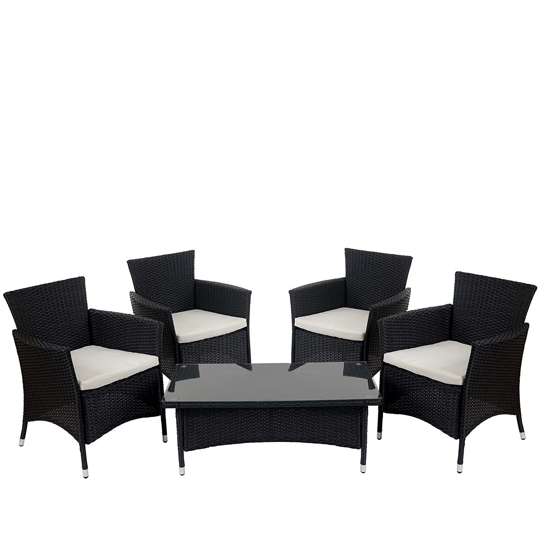Poly-Rattan Garten-Garnitur ROM Basic, Sitzgruppe Tisch + 4x Sessel ~ anthrazit, Kissen creme