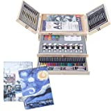 Professional Art Set 85 Piece Deluxe Art Set in Portable Wooden Case-Painting & Drawing Set Professional Art Kit with 3 x 50 Page Drawing Pad for Kids, Teens and Adults/Gift (Color: 85PCS, Tamaño: Insulated -modelFD781)