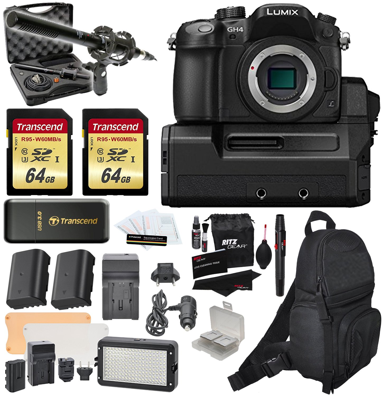 Panasonic DMC-GH4-YAGH Lumix GH4 4K Micro Four Thirds Digital Camera Video Interface Compact System + Vidpro XM-55 Broadcast Unidirectional Condenser Microphone + 2 Transcend 64 GB + Extra Accessories