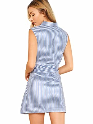 cc8801d343d Romwe Women s Cute Sleeveless Striped Belted Button up Summer Short Shirt  Dress Blue XS (Color  Blue