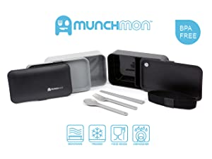 Munchmon Leakproof All-In-One Stackable Bento Box (Color: Black / Gray)