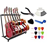 YMC Folding Multiple Guitar Stand for Acoustic Electric Guitar Bass Rack Band Stage,Includes Picks,Pick Holder,String Winder,Bridge Pins,Nut Saddle,String Cutting Plier -7 Holder (Tamaño: GS107)